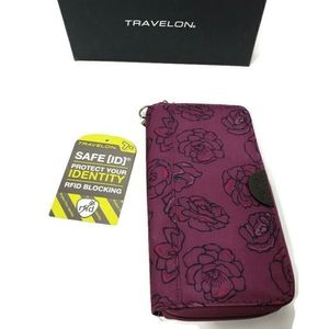 NWT Travelon Plum Floral RFID Blocking Wallet